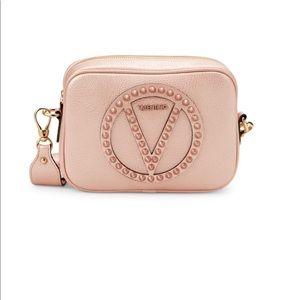 Valentino Mia Rock Studded Leather Crossbody Pink